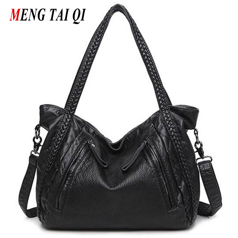 Women Bag Ladies Messenger Bag 2016 Handbag Leather Shoulder Bags Woman Totes Luxury Brand Big Top-Handle Bags Zipper Knitting 4