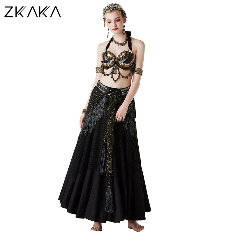 ZKAKA Backless Sequined Sexy Top With An Exotic Big Swing Belly Dancer Skirt