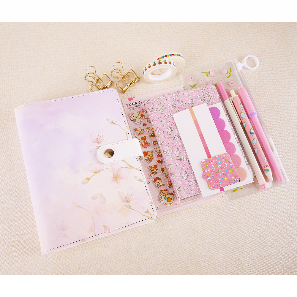 Beautiful Cherry Blossoms A6 Spiral Notebook Set High-quality Filler Papers Pen Pencil Bags Huge Lovely Planner Stationery Suit