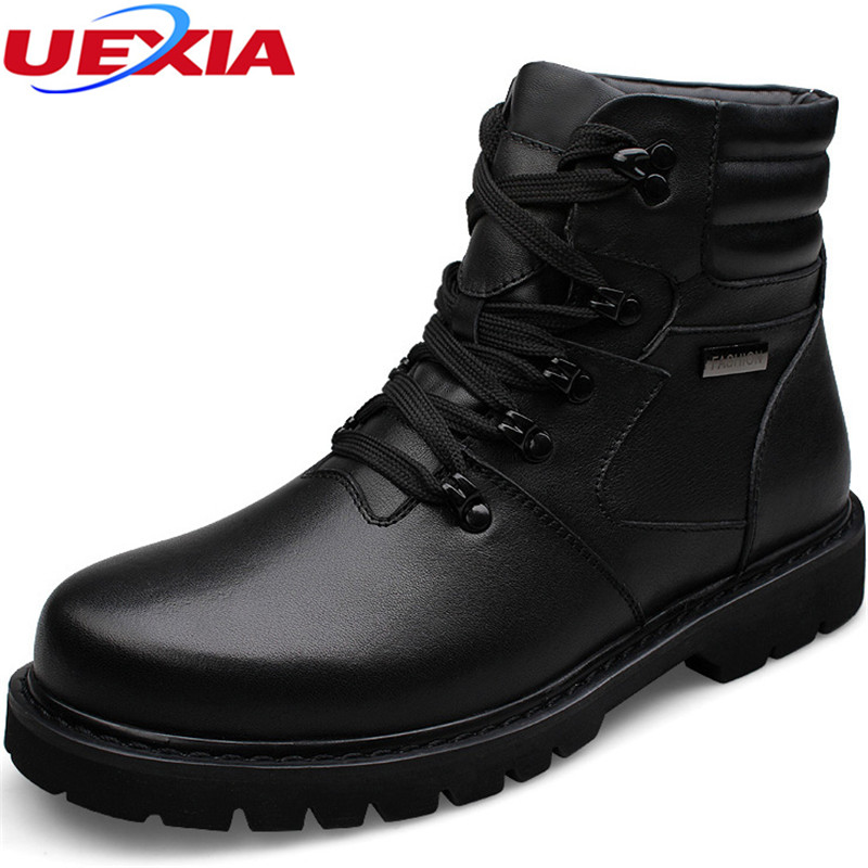 Plus Size 37-48 Casual Leather Business Dress Ankle Men Boots Black Plush Fur Flat Lace-up Winter Round Toe Snow Man Shoes Boots front lace up casual ankle boots autumn vintage brown new booties flat genuine leather suede shoes round toe fall female fashion