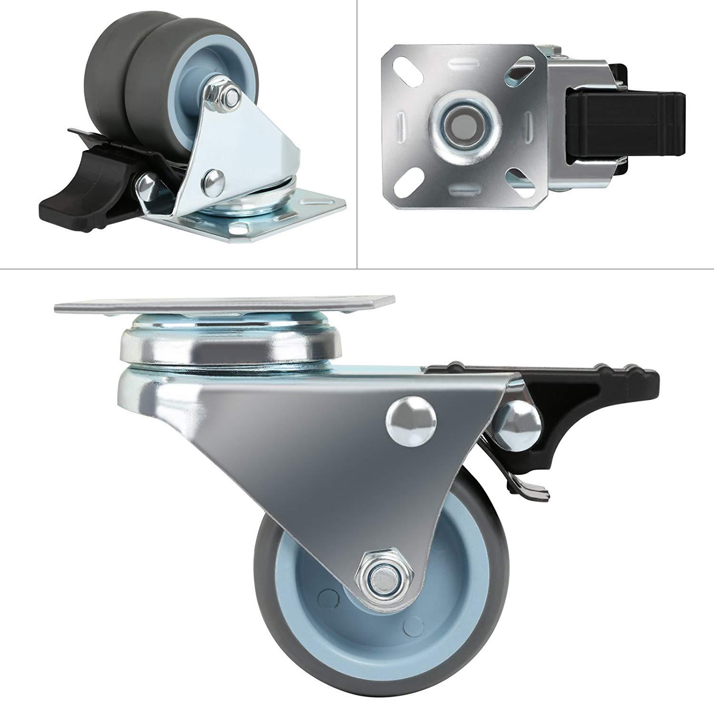 4x Heavy Duty 40mm PP Swivel Castor Wheels Square Plate Fixing
