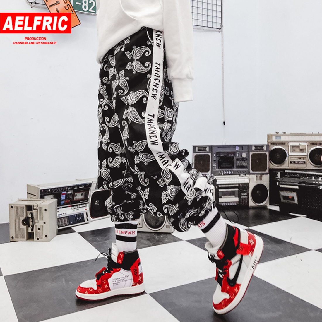 Honey Aelfric Brand 2019 Loose Casual Swearpants Spring Women Clothes Trousers Geometric Side Track Letter Print Hip Hop Harem Pants