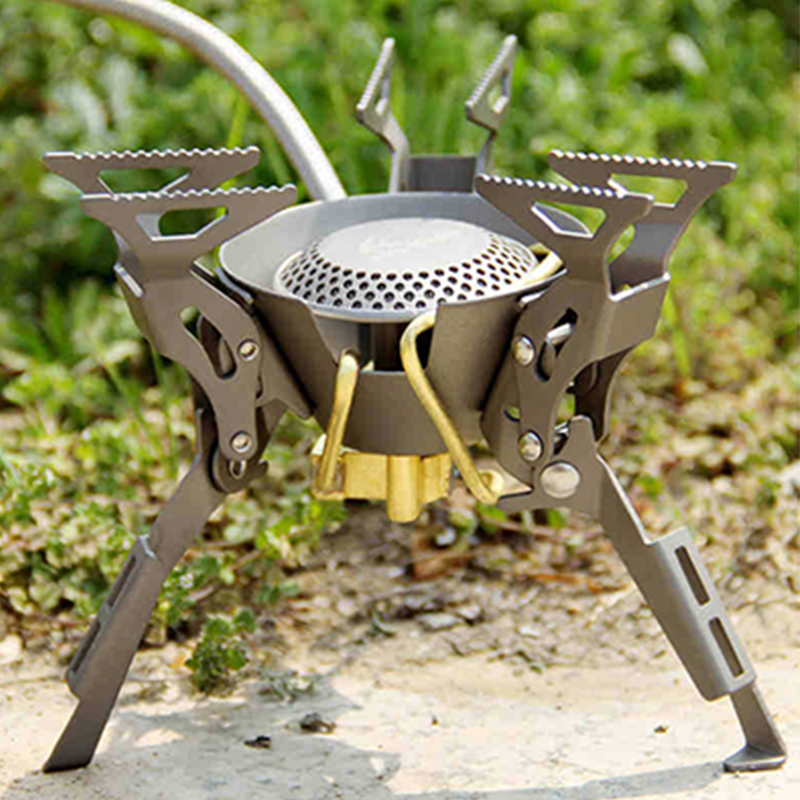 FMS-100T Outdoor Camping Folding Burners Split Gas Stove Transformers Titanium Gas Stove 199g 2450W Free Shipping split gas stove burner made of titanium alloy for outdoor camping 98g power 2800w