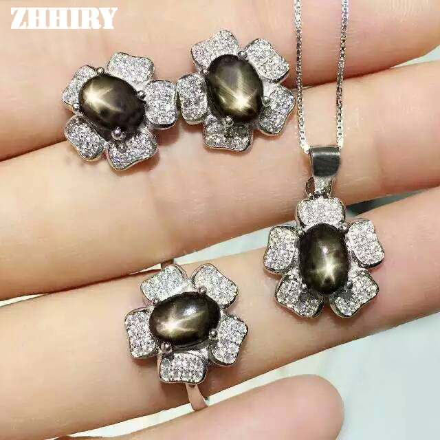 ZHHIRY Natural Star Sapphire Sets Woman Gemstone Jewelry Set Solid 925 sterling Silver Noble Precious hyperset noble hs6012