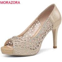MORAZORA 2018 hot sale women pumps elegant peep toe summer shoes shallow simple party wedding shoes 8.5cm high heel shoes woman