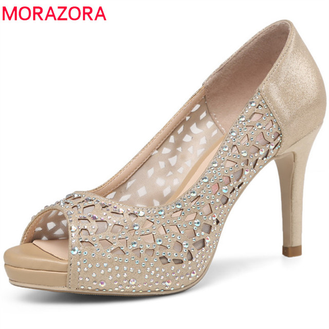 7a902bb106e US $44.72 48% OFF|MORAZORA 2018 hot sale women pumps elegant peep toe  summer shoes shallow simple party wedding shoes 8.5cm high heel shoes  woman-in ...