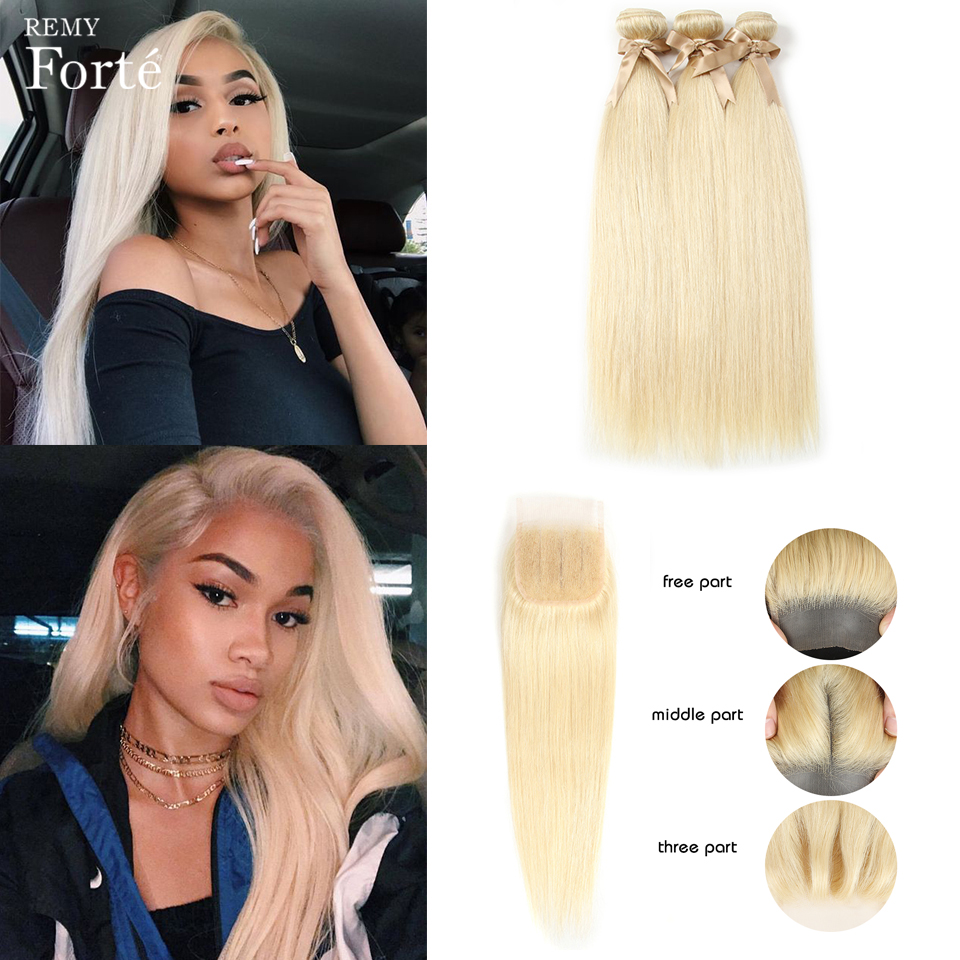 Remy Forte 613 Bundles With Closure Brazilian Hair Weave Bundles Honey Blonde Straight Bundles With Closure Remy Hair Extension