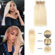 Remy Forte 613 Bundles With Closure Straight Hair Bundles With Closure Honey Blonde Bundles With Closure 2/3 Bundles Hair Vendor