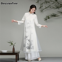 2019 summer traditional vietnam chiffon ao dai dress for women improved cheongsam ethnic style traditional clothing floral aodai
