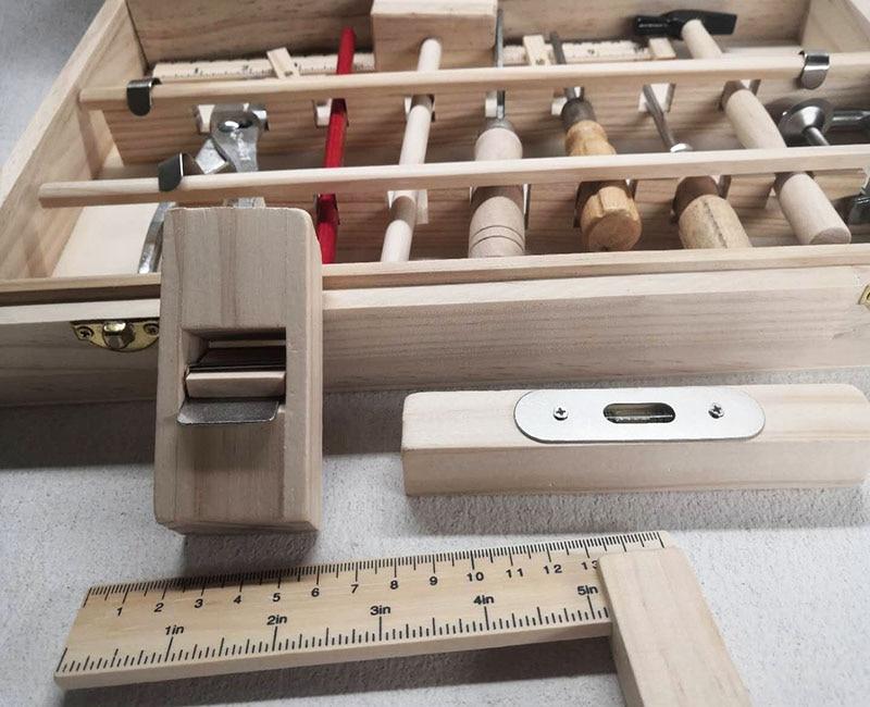 ferramentas de madeira conjunto martelo chave 04