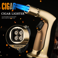 2 color Honest Windproof Blue Flame 4 Torch Cigar Lighter Personality Straight Inflatable Ignition Baking with butane lighter