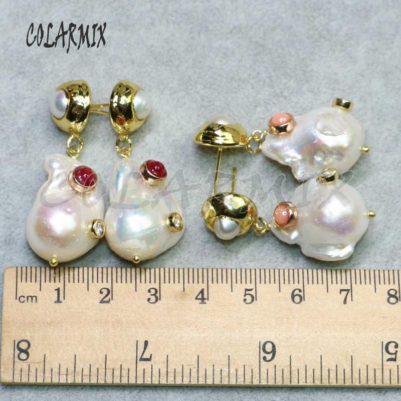 5 ペアナチュラルパールピアスドロップ石卸売宝石の真珠のイヤリングジュエリーの女性のギフト女性のための 9135
