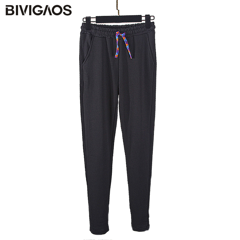 BIVIGAOS Trousers Women Sweatpants Velvet Drawstring Colorful Winter Fashion Casual Loose