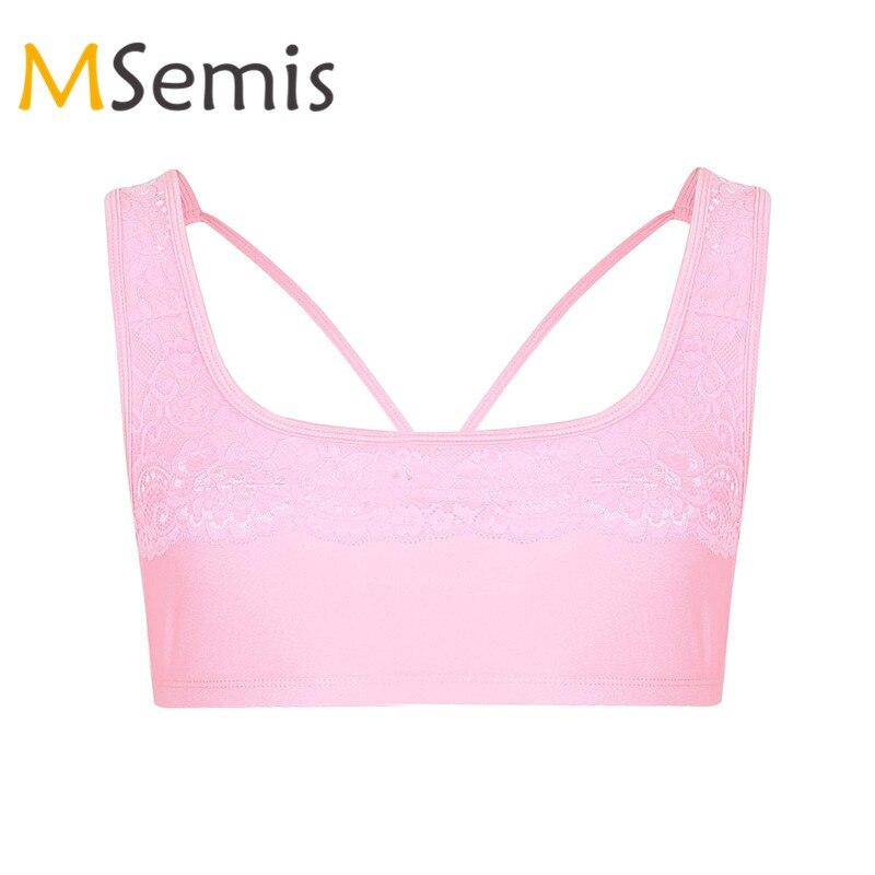 Mens Bra Sissy Lingerie Sissy Bralette Male Underwear Satin Floral Lace Wide Shoulder Straps Wire-free Bralette Sports Bra Top