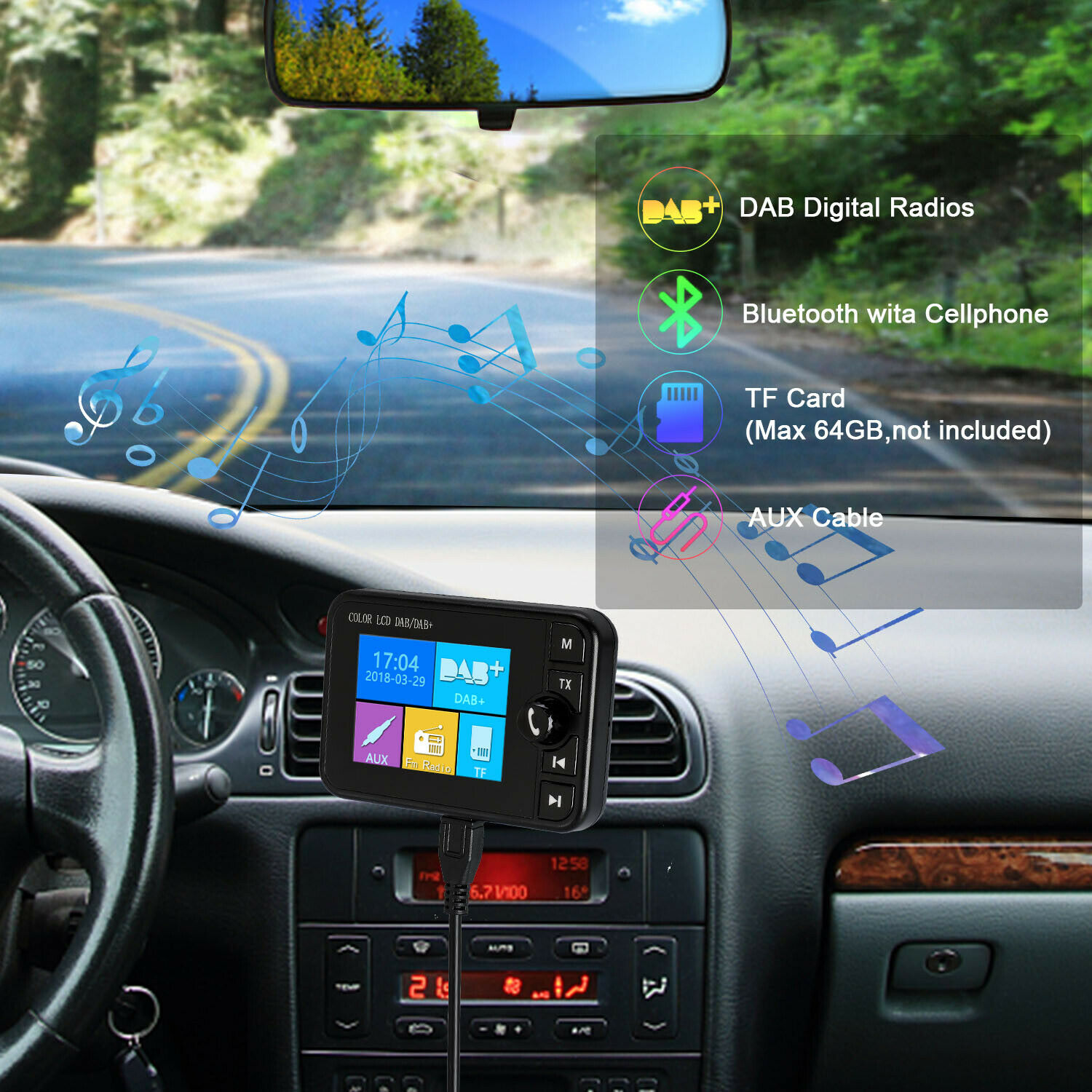 DAB Radio Receiver Colorized Screen Support Bluetooth Music Calling Answer for Car GDealsDAB Radio Receiver Colorized Screen Support Bluetooth Music Calling Answer for Car GDeals