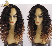 Honey Blonde Ombre Full Lace Human Hair Wigs Glueless Virgin Peruvian Kinky Curly Remy Hair Lace Front Wig Two Tone Color