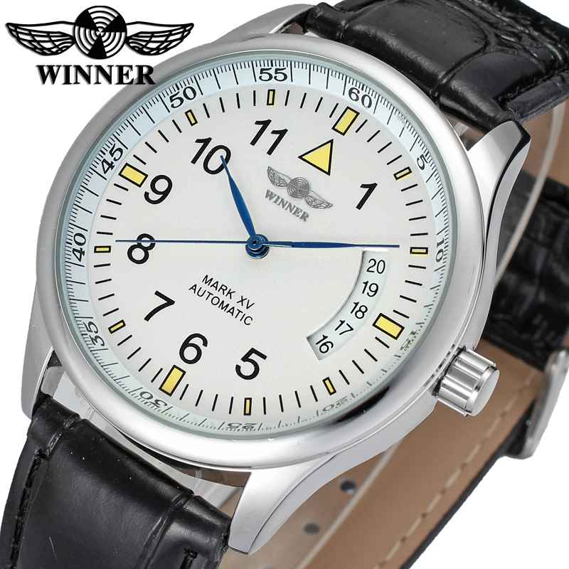 WINNER Dress Men Auto Mechanical Watch Leather Strap White Dial Calendar Date Arabic Number Fashion Wristwatch Montre Homme fosining luxury montre homme watch men s auto mechanical moonpahse genuine leather strap watches wristwatch free ship