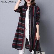 Cotton Linen Blouses Female 2017 Autumn Women's Tops Striped Long-Sleeved Ladies Shirts Long Blouse