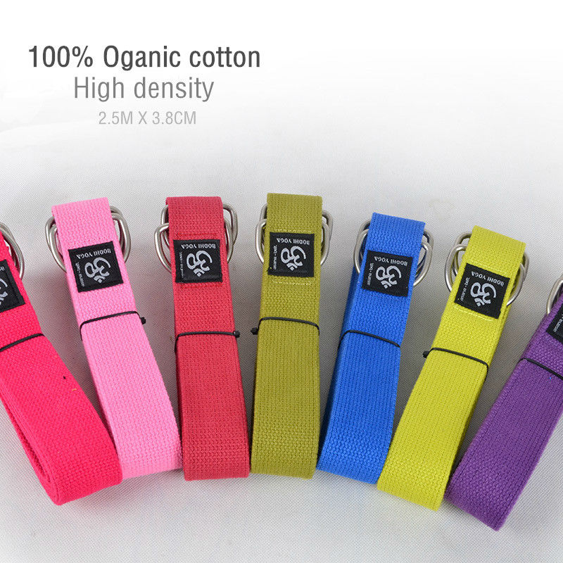 2016 new guangdong factory sales Branded 2.5m x 3.8cm 100% oganic cotton yoga band with metal rings easy to carry