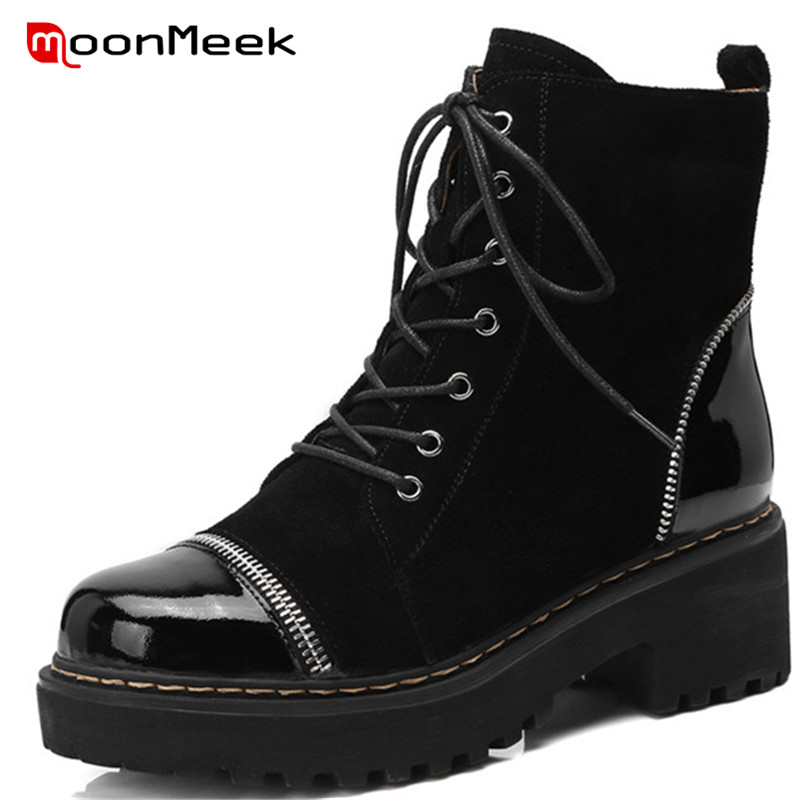 MoonMeek 2018 hot sale women cow suede leather boots popular round toe autumn winter ladies boots fashion high heel ankle boots цена 2017