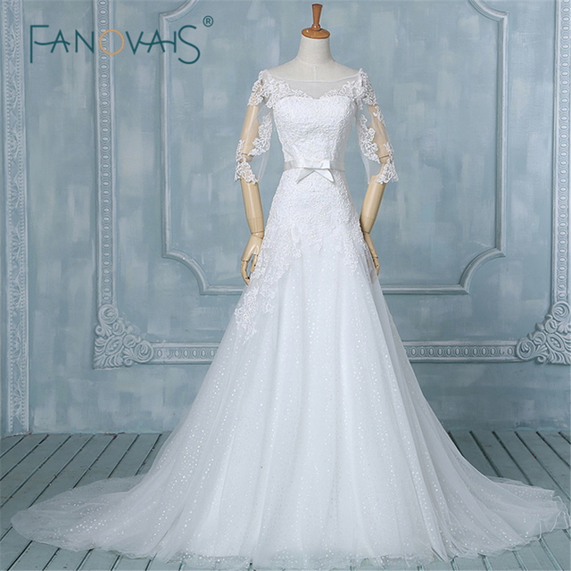 e48413be643 Western Style Sexy Lace Half Sleeve Wedding Dress Real Image Elegant  Wedding Gown Plus Size Wedding Dresses ASA-005