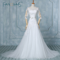Western Style Sexy Lace Half Sleeve Wedding Dress Real Image Elegant Wedding Gown Plus Size Wedding