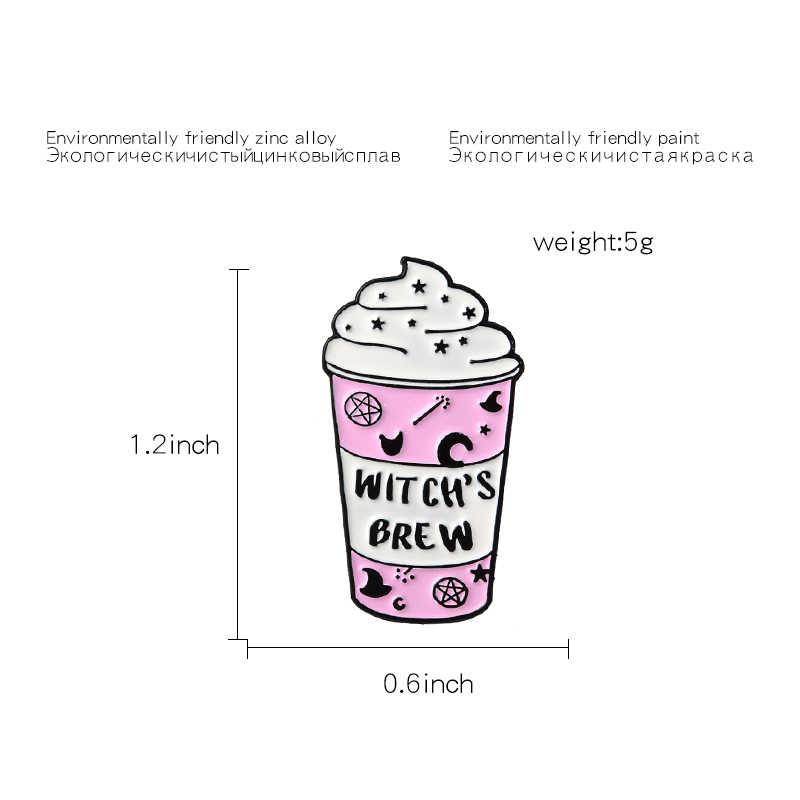 Кружка для мороженого эмалированная булавка ведьмы ПИВОВАРЕНИЕ розовая чашка для колдовства броши металлическая брошь волшебник, ведьма булавка значок подарок для женщин и мужчин