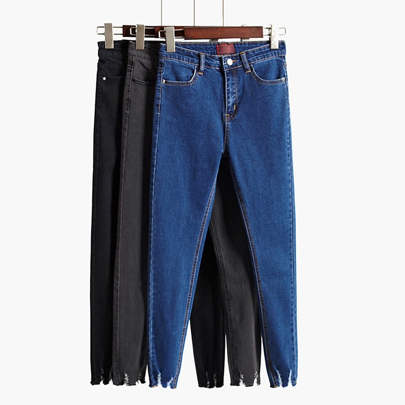 2017 new Summer style black jeans female trousers dark color High waist skinny pants Was thin elastic pencil pants  H6898 2017 new jeans women spring pants high waist thin slim elastic waist pencil pants fashion denim trousers 3 color plus size