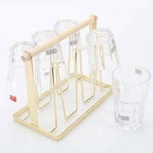 6 чашек кружка стеклянная подставка держатель сушильная Полка Для Дома кухни подвесная сушилка для хранения креативные железные деревянны...