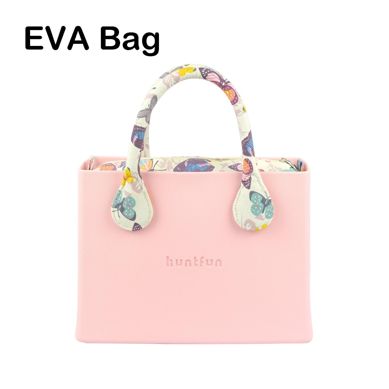 New Huntfun Logo O Bag Style Rubber Silicon EVA Square Bag Floral Canvas Insert Handle Waterproof Women Handbag Shoulder Bag