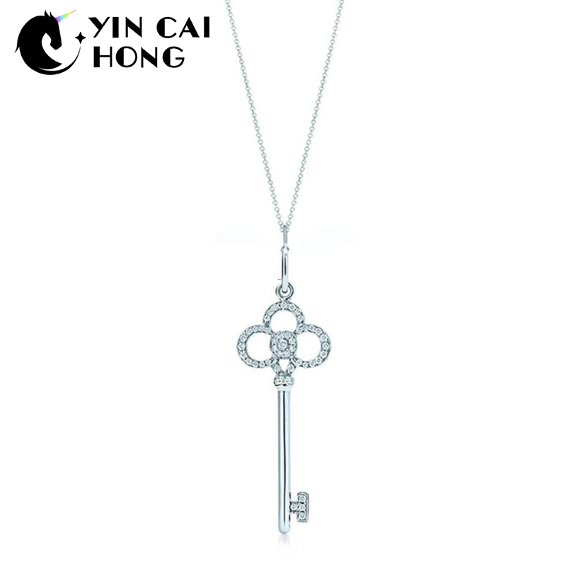 YCH Charm Gift 925 Sterling Silver Crown Key TIFF Attractive Elegance Temperament Necklace World JewelryYCH Charm Gift 925 Sterling Silver Crown Key TIFF Attractive Elegance Temperament Necklace World Jewelry