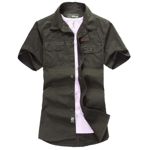 Alta Qualidade Duplo Pockets Mens Jeans Camisas de Algodão Slim FIt Camisas Homens Estudante Exército Verde Camisa de Manga Curta Camisas Hombres