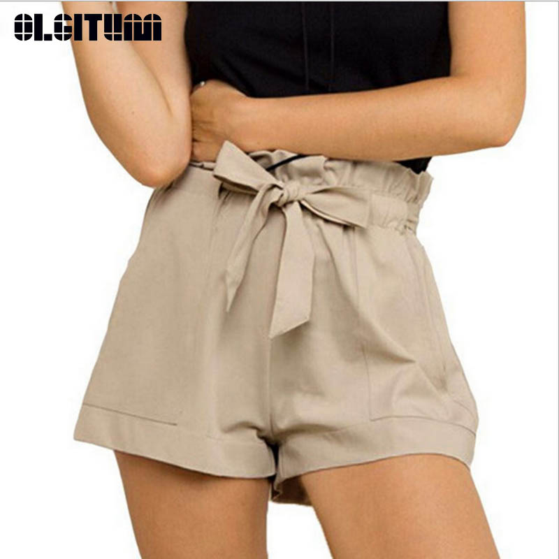 New 2019 Women Fashion Women's A-Line Summer Casual Shorts High Waist Short Bow Shorts Female Outwear PT199