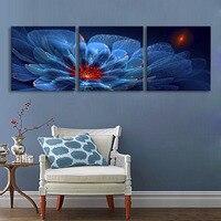 Trasferimenti Su Tela Stampe Fiori Blu LED Lampeggiante Fibra Ottica Stampa LED Wall Art Decorazioni LED