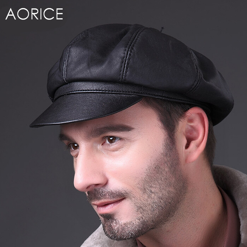 HL010 Genuine Soft Leather Driving Flat Cap Mens Stylish Fashion Sport Hat  Black newsboy cap bd1080ff378
