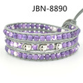 handmade bracelet  natural purple stone  beads and skull waving bracelets bangles charm fashion jewelry JBN-8890 for women