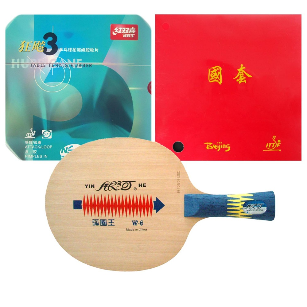 Pro Table Tennis PingPong Combo Racket Galaxy W-6 with TUTTLE Beijing II and DHS NEO Hurricane 3 Long Shakehand FL