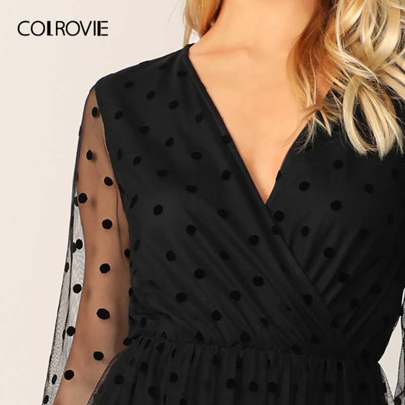 COLROVIE Черное женское платье в горошек с сетчатой вставкой, летнее Сексуальное Женское Платье с v-образным вырезом, гламурные облегающие и Расклешенные платья, 2019