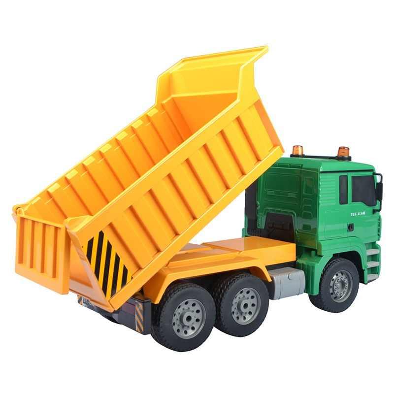 Simulación de vehículo de ingeniería de Control remoto 1:20 una llave eléctrica RC volquete camión modelo de transporte con luz de sonido