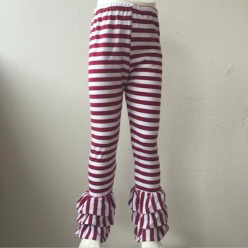Wholesale 2017 children ruffle best selling icing leggings triple ruffle high quality baby icing ruffle pants stripe color фото