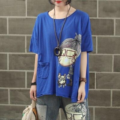 Женская модная брендовая летняя винтажная Лоскутная футболка с принтом собачки из мультфильма для маленькой девочки, Милая Короткая Женская Повседневная футболка - Цвет: blue