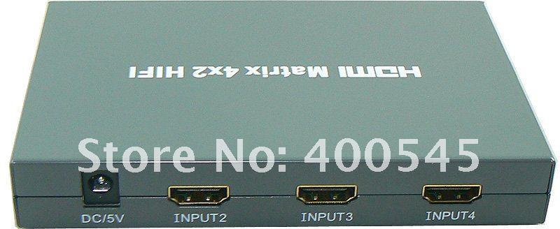 HDMI True Matrix 4x2 HDMI Switch Switcher & Splitter HDMI True Matrix 4x2 4 input 2 output+SPDIF+COAX Free Shipping