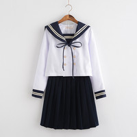 O ENVIO GRATUITO de Japonês/Coreano Estudante Terno Bonito Das Meninas/Mulheres Cosplay Roupas Uniformes Escolares Marinheiro Terno Marinho Top + saias