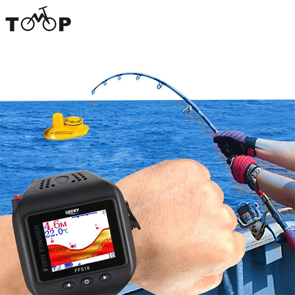 Prix pour CHANCEUX 200FT 60 M Gamme Sonar Fish Finder Montre Type Sans Fil Sondeur Portable W De Pêche Sondeur De Pêche