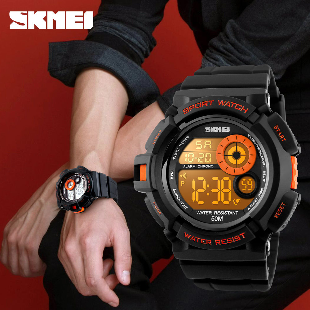 Men Sports Watches Casual LED Digital Military Shock Wristwatches 50M Waterproof Student Outdoor Clock Skmei Brand New 2018 1222