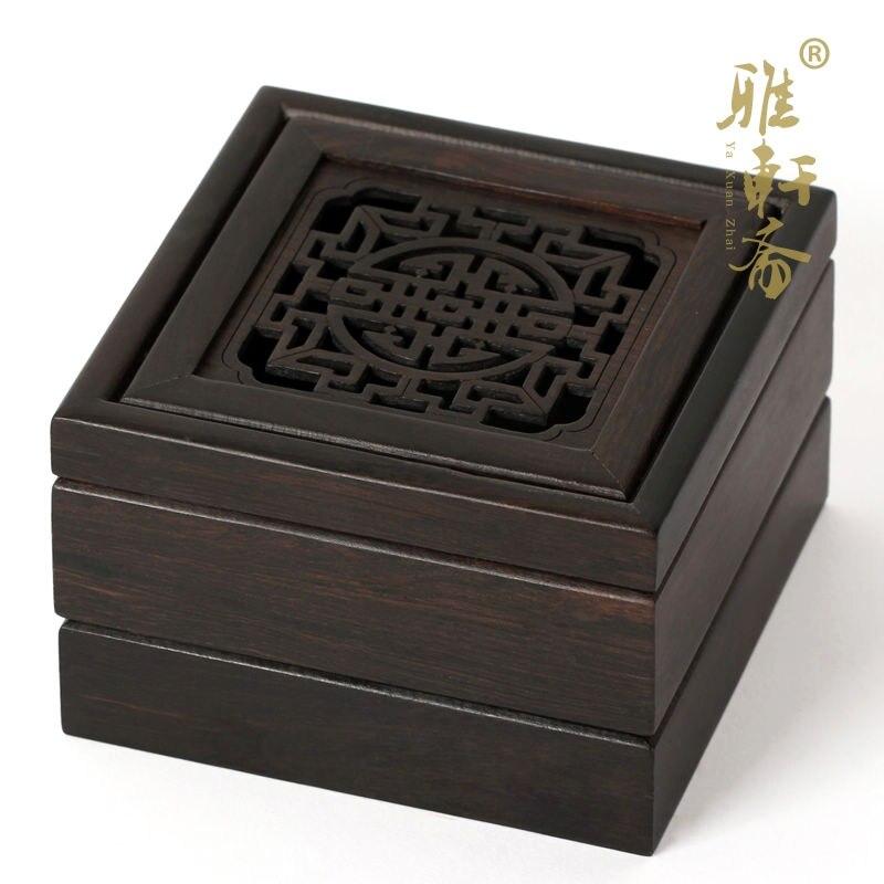 Violet santal encensoir avec disque en bois boîte à encens encens conseil boîte creuse