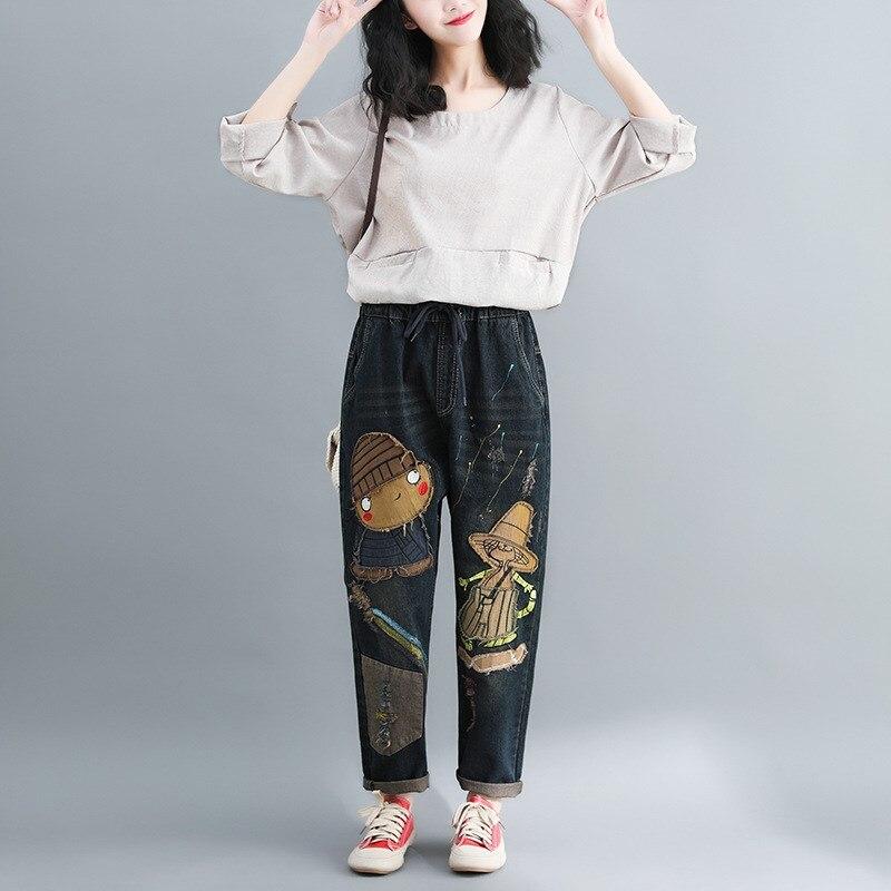 Women Spring Patchwork Embroidered Cartoon Denim Pants Washed Vintage Elastic Waist Denim Trousers