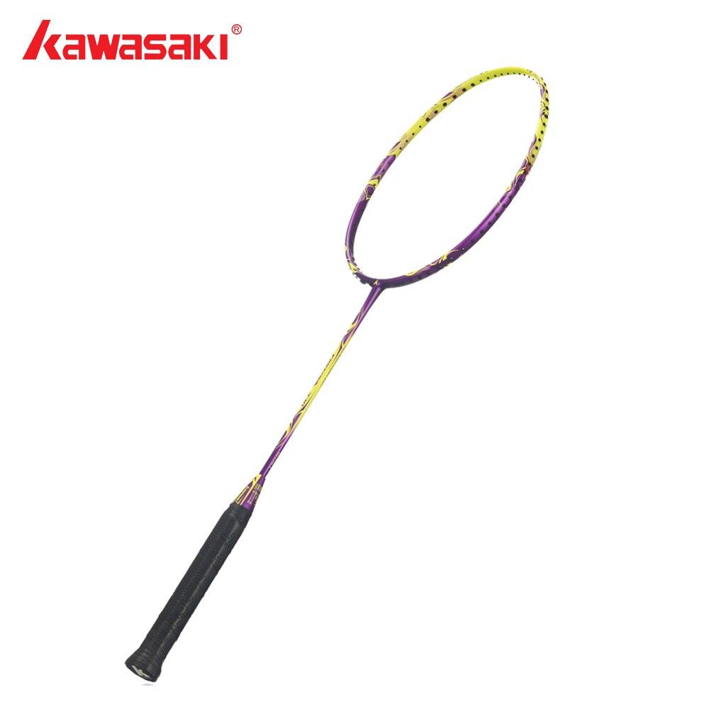 Kawasaki Brand Original Badminton Racket 4U Ball Control Type Graphite Carbon Yellow Badminton Racquet for Beginners Firefox 370 kawasaki original badminton racket offensive type 18 30lbs graphite fiber badminton racquet for junior players firefox 570 sd