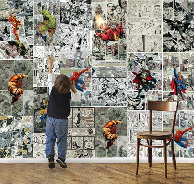 Marvel Comics Wallpaper 3d Wallpaper For Walls Mural Kids Bedroom