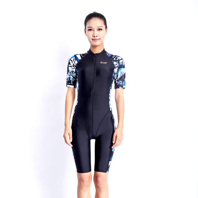c2a87e393f HXBY swimsuit arena swimming women swimwear black printing zipperswimsuits female  competition legs swim suit racing competitive